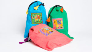 Thimble painted & hand embroidered Elephant cotton drawstring bags